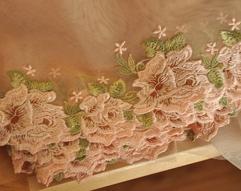 Embroidery lace fabric trim with pink and green floral
