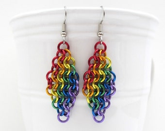 Rainbow European 4 in 1 chainmail earrings, gay pride jewelry, rainbow jewelry, LGBT jewelry