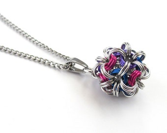 Bi pride pendant necklace, chainmail dodecahedron, bisexual pride jewelry, pink purple blue