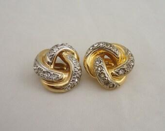 Vintage Signed Adrien Mann Clip on Earrings, Vintage Swirl Clip on Earrings, Vintage Clear Rhinestone Clip on Earrings