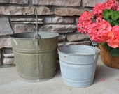 Old Galvanzied Buckets with Handles x2 .....Rustic Planters