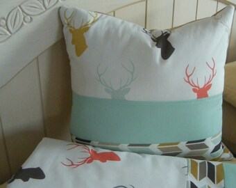 Baby Bedding  /Premium Fabrics Multicolor Coral MInt/Deer Elk Modern Crib Bedding