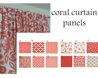 Coral Curtain Panels 25'' x 84'' Pair Lined Various Coral Patterns