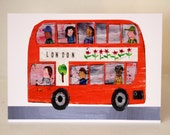 London Bus Greeting Card designed by Tracey English