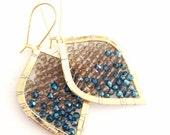 LAST PAIR! Wire Wrapped Gold Beaded Teardrops Smokey Quartz Sapphire Blue