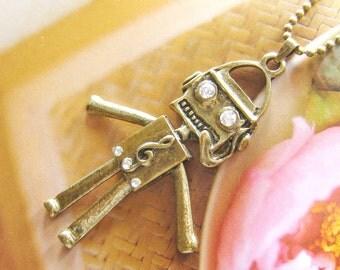 Vintage brass movable robot necklace