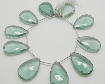 Large Aqua Green Hydro Quartz Briolette, Green Quartz Briolettes, Faceted Teardrop, Green Amethyst Color, 26x18mm, 1 bead, #725.S