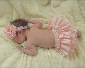 Beautiful Parley Ray Precious in Pink Ruffled Baby Bloomers/ Diaper Cover / Photo Props Baby Pink