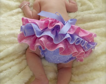 Beautiful Parley Ray Princess Pink & Purple Spring Ruffled Baby Bloomers / Diaper Cover / Photo Props