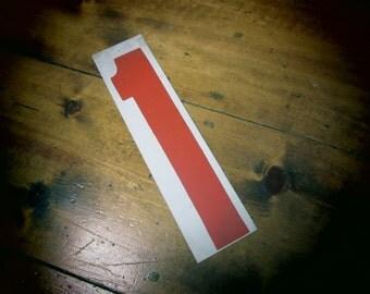 Numbered Sign, Gas Station Sign, Number One, #1, Vintage Sign, Industrial, Vtg Decor, Number Sign, Red and White, vtg Sign,Price Number Sign