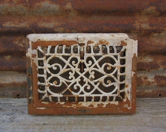 Antique Metal Heating Duct Cover Painted Chippy White Chipping Victorian Register Plate Ornate Iron Metal Architectual Item Heating Grate