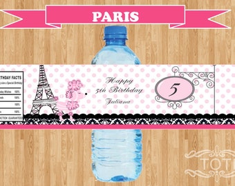 Paris  Personalized Water Bottle label  [Digital File only]