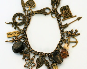 Peter Pan And Wendy and Lost Boys Charm Bracelet III in Antiqued Bronze