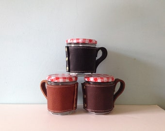 Leather cup sleeve / portable leather jar cosy / coffee snug