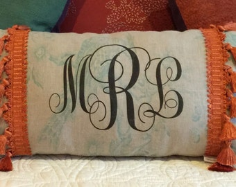 Monogrammed Pillow on Toile
