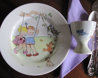 Hand painted Little girls on a swing on Royal Doulton plate with an eggcup