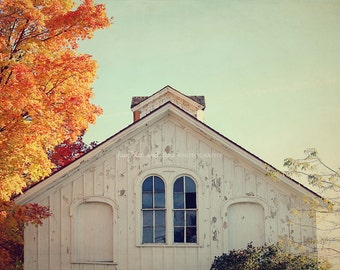 White Barn Top Fine Art Photography Fall Autumn Orange Blue Farmhouse Farm Country Rustic Vintage Cupula Weathered Wood Home Decor Wall Art
