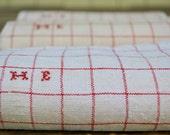 Vintage Linen Tea towels authentic French Kitchen decor, French Antique Linen, monogrammed linens, H. E. initials