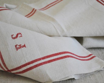 French Antique Linen Tea Towels perfect Country French Decor, Vintage Linen Towels,  Monogramed linen, Initials F S