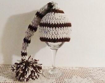 Newborn hat. Newborn stocking hat.Stocking hat. elf hat. Sleeping hat. Crochet hat. Boy hat