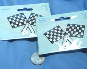 Checkered Flag Iron-on Patch Applique, Embroidered