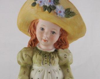 Holly Hobbie Ceramic Figurine circa 1973 World Wide Inc. Red Hair Blue Eyes and Freckles