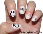 Mr. & Mrs. Bridal nail wraps. Nail polish strips for weddings. Nail art nail decals.