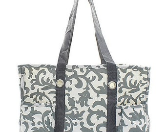 Personalized  Utility Tote Damask Print