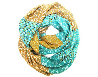 Silk Infinity Scarf Double Loop Scarf Circle Scarf Women's ScarfTangerine Turquoise Cream Plum Ready To Ship