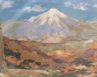 Collage kit - Mt. Fuji - Japanese landscape - DIY home decor project - paper art kit