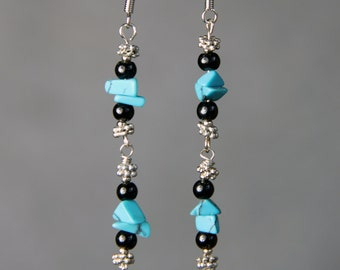 Turquosie chips linear dangling earrings Bridesmaids gifts Free US Shipping handmade Anni designs