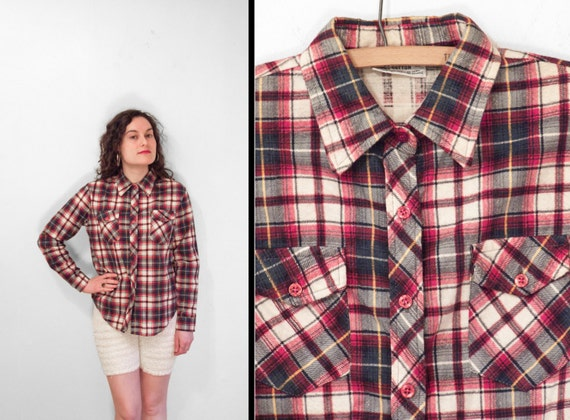 1980s plaid flannel shirt red gold hunter green navy blue for Navy blue and red flannel shirt