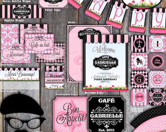 Paris Party | Paris Party Decorations | French Cafe Bistro Birthday Party | Set Kit Collection | Signs Toppers Banner Favor Tags | Printable