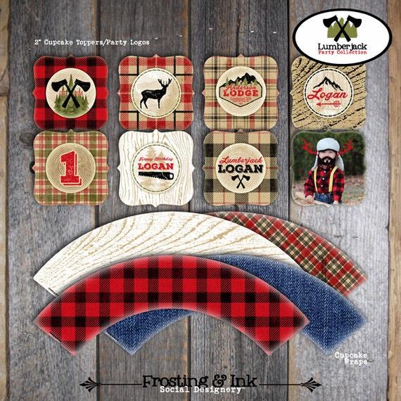 Lumberjack Cupcake Toppers & Wrappers Printable Camping