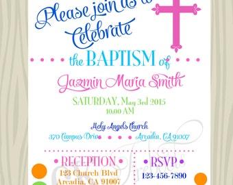 Rainbow Baptism/Christening Invitation (Custom Colors Available)