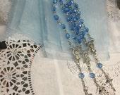 """50 min rosaries and 50 pcs Organza bags, 4"""" x 6"""" organza bag , favor bag , jewel organza bag blue color, wholesale minirosaries,NARELO"""