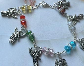 Swarovski Crystal Bracelet, Lucky Bracelet 7 Archangels Bracelet, religious bracelet,multicolor bracelet,angel. angels bracelet  Narelo