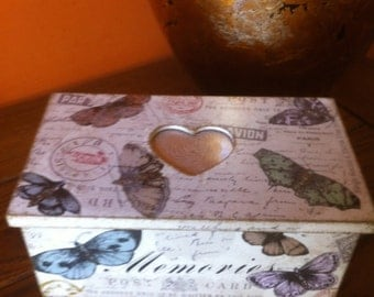 Rustic Decoupaged Wooden Shabby Chic Box Memories