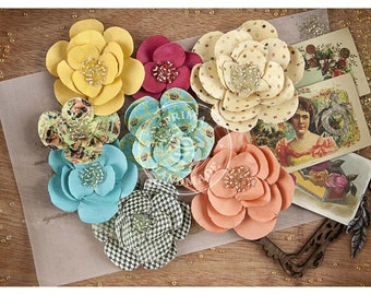 Paper Flowers with Beaded Centers - Assorted - Prima Mkt - Cigar Box Secrets - 8 Pack - #578619