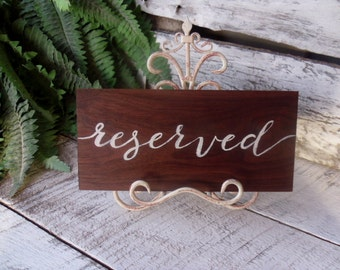 Reserved Sign, Signs, Event Sign, Wedding Table Reserved Sign, Handpainted Sign, Reserved Table Sign
