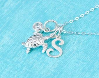 Sea Turtle Necklace, Sea Turtle Charm Necklaces, Graduate Gift, Beach Jewelry, Sea Turtle Jewelry, Silver Turtle, Birthstone Charm