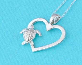 Sea Turtle Necklace, Sea Turtle Pendant, Heart Pendant, Beach Jewelry, Sea Turtle Jewelry, Silver Turtle, Love Turtles