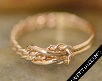 SET OF 7 Gold Filled Infinity Knot Ring w/giftbox - Reef Knot - Infinity Knot Jewelry - Bridesmaid Gift - Set of Seven