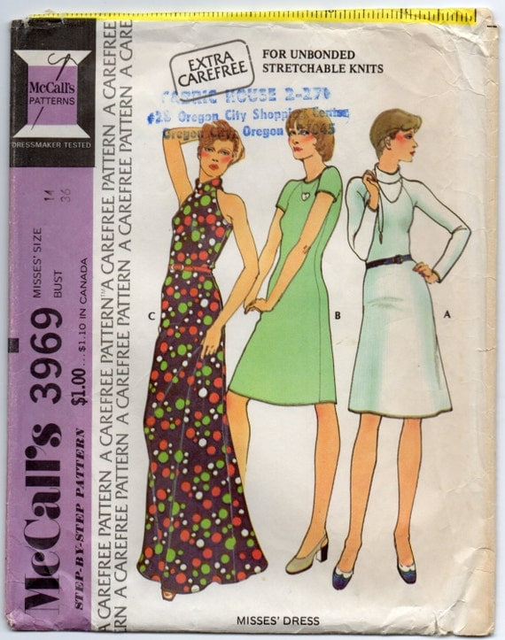 Stretch Knit Sewing Patterns : Stretch Knit Dress With Optional Roll Collar Size 14 by Rosie247