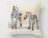 Zebra Velveteen Pillow Safari Animals Jungle Animals Stripes Mother and Baby Love Nursery Decor Bedroom Decor, Living Room Decor
