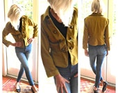 Vintage cotton knit jacket military khaki gold buttons peplum hipster retro boho winter fall Beatles Sargent Pepper: x small