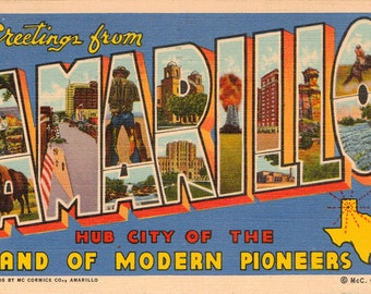 Linen Postcard, Greetings from Amarillo, Texas, Hub City of Modern Pioneers, Large Letter