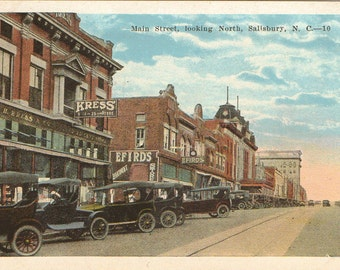 Vintage Postcard, Salisbury, North Carolina, Main Street, Looking North