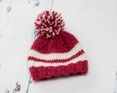 Newborn Baby Pom Pom Hat - Photo Prop - Red, Cream - Ready to ship