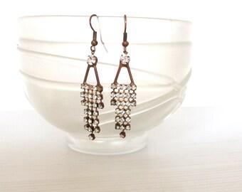 long triangle rhinestones art deco style earrings,  vintage inlayed chandelier earrings, long  rhinestones earrings, pierced ears
